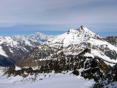 La Grivola <i>3969m</i> and Punta Bianca della Grivola <i>3793m</i> seen from Gran Serra <i>3552m</i>