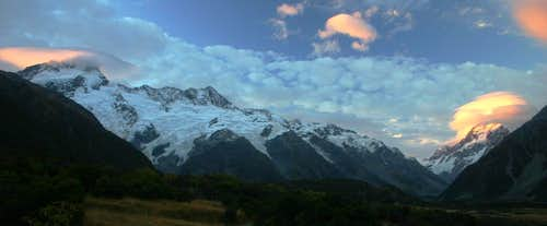 Sunset on Mt. Cook and Sefton