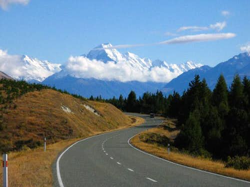Mount Cook as it is seen from the road to Mt. Cook Village