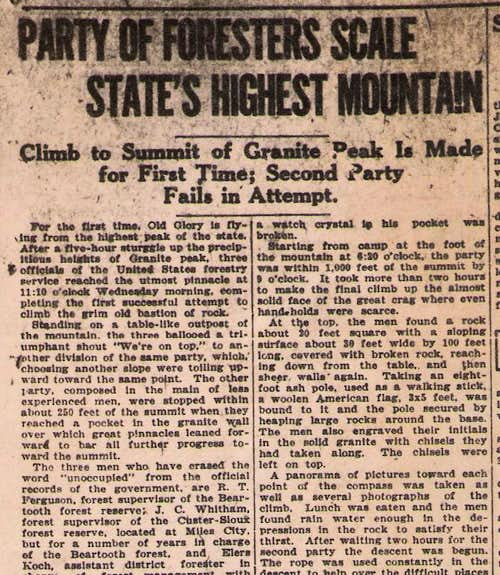 Newspaper Article of First Ascent
