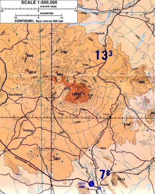 Map of Taftan and Beluchestan...