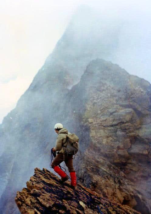 Aug 01, 1976: along the Monte Emilius's west<br> ridge; in the foreground  Piccolo Emilius <i>3342m</i>