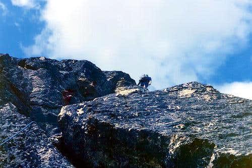 On the first slab of Triangolo Nero, climbing <br>Monte Emilius's  NE arête <i>3559m</i> (Aug 8, 1976)