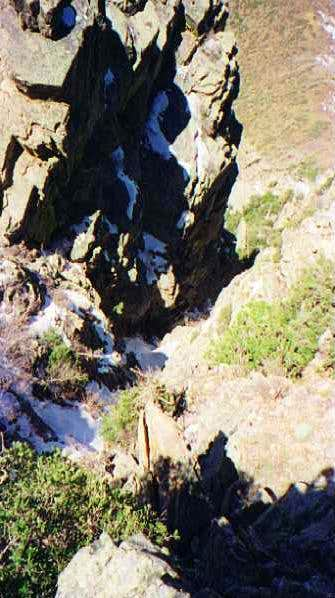Looking down the Scree Chute