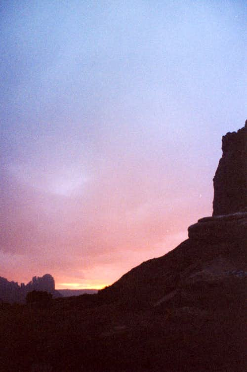 Sunset over Bridger Jack Towers