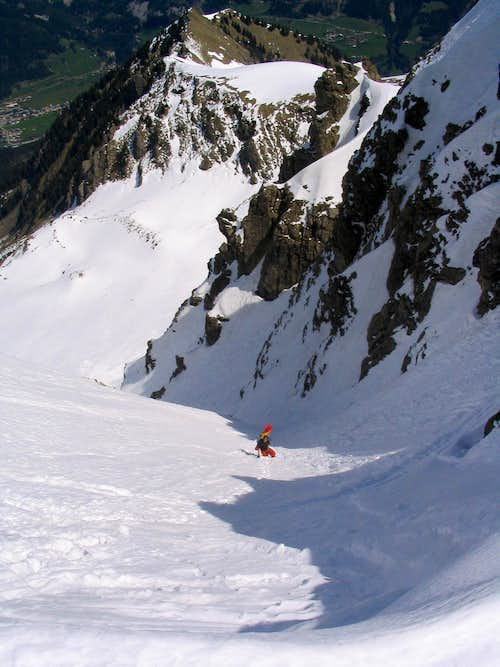 ski hiking in couloir de Chemine in Mont de Grange north face