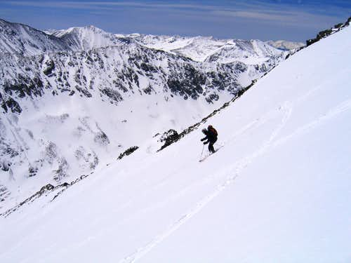 Skiing the Cristo Couloir