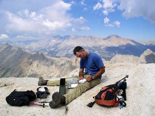 Signing in at Sawtooth Peak