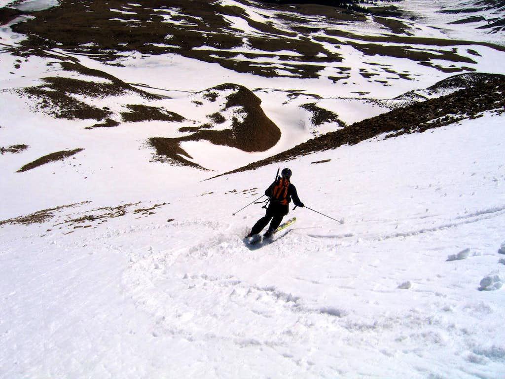Skiing the Boudoir Couloir