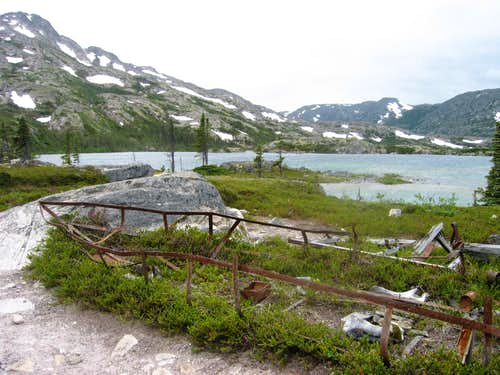 Remains of an old boat at Deep Lake - Chilkoot Trail