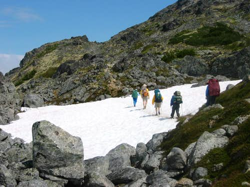 Crossing snowfield on the Chilkoot Trail