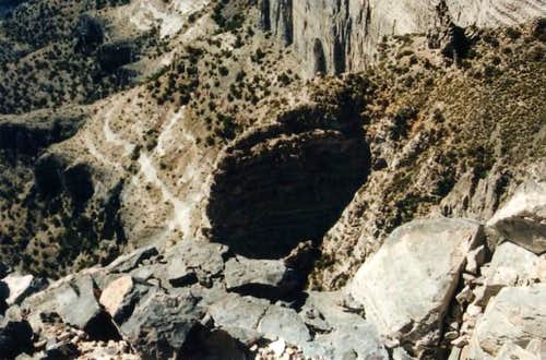 Looking down at the base of...