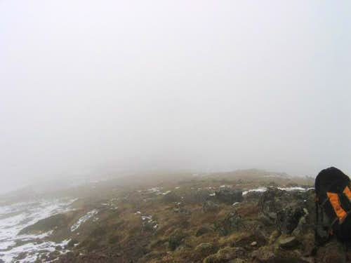 Fogged in at summit in May