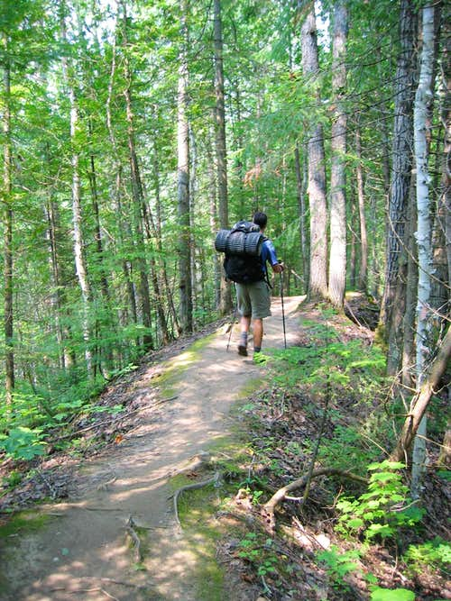 Hiking on an esker - Laurentian Trail
