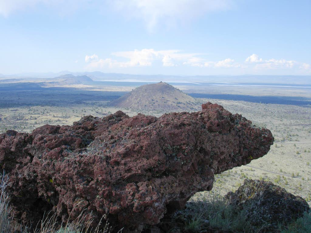 Looking North to Schonchin Butte, w/Lava plug protruding in foreground
