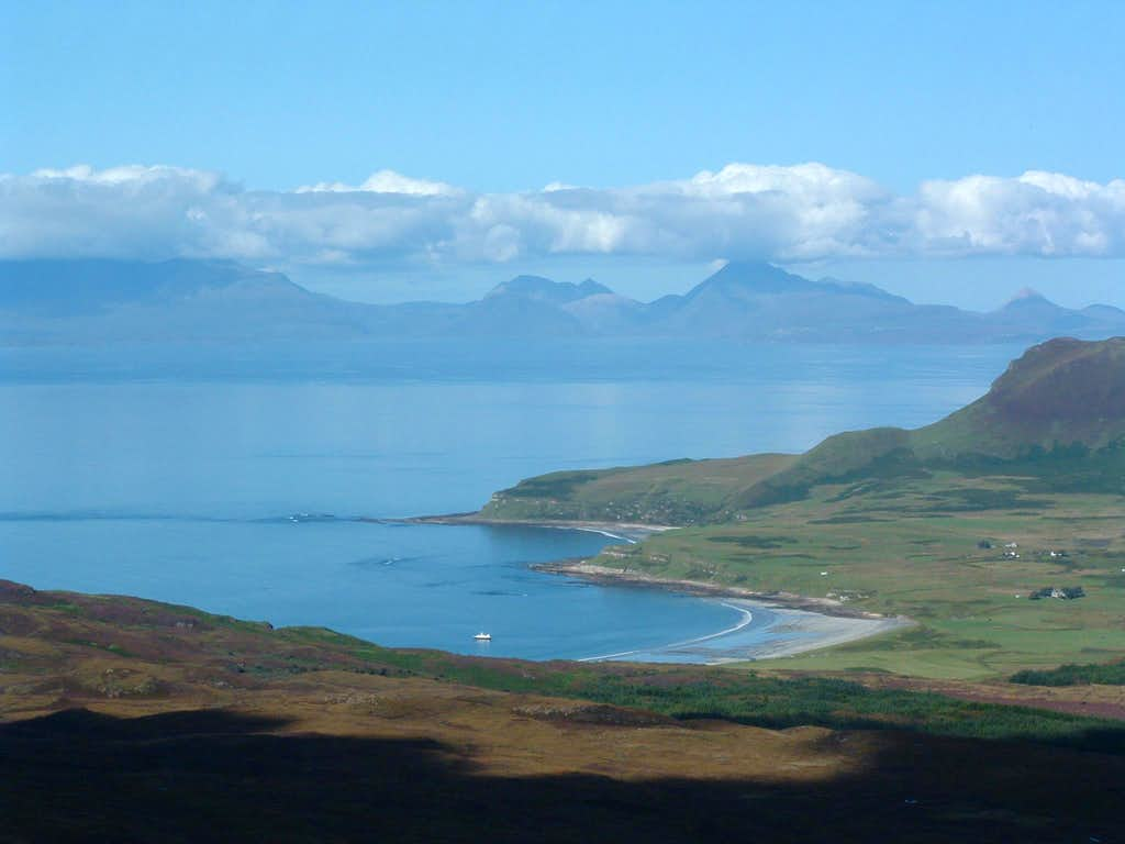 From An Sgurr to the Bay of Laig and eventually over towards a distant Skye.
