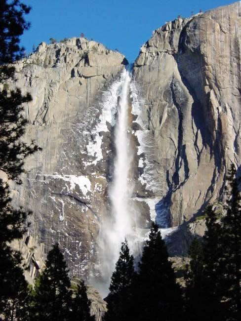 Yosemite Falls in winter. At...