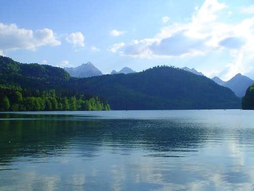 The mountains from the Alpsee lake