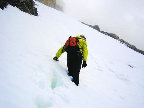 Snow climbing near the top of the SW Face
