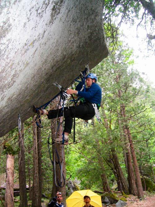 Misha leading the LeConte Boulder