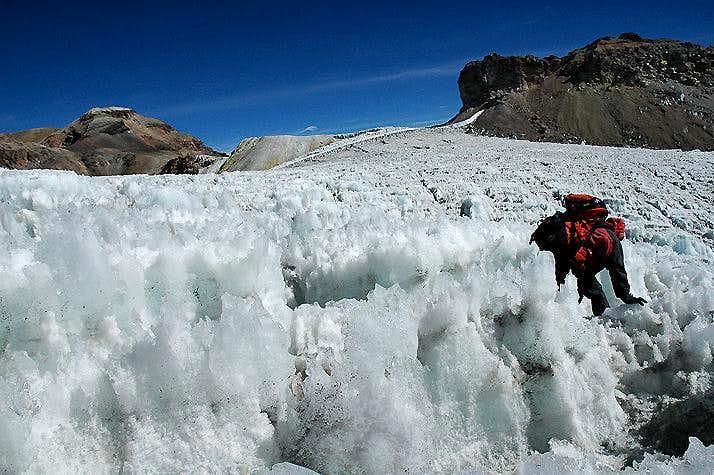 Navigating through the Ayoloco Glacier