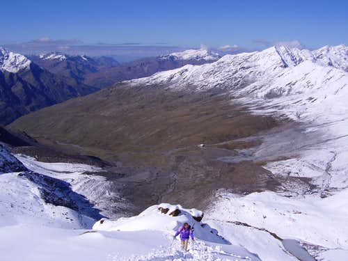 Refuge Pizzini from Cevedale Pass