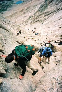 Descending the Chockstone-top of the Trough