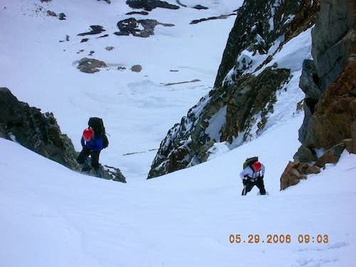 Topping out on St. Jean couloir
