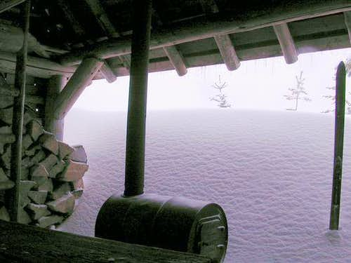 Inside view of Fuji shelter.