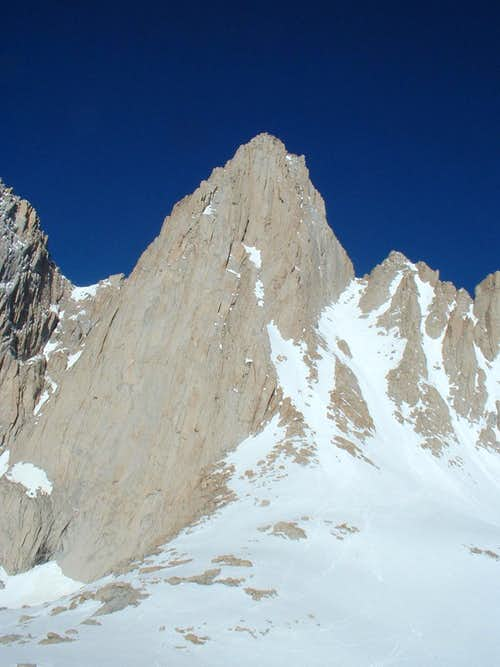 Mt. Whitney, with trail going up the coulier