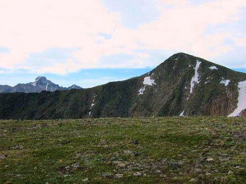 Hallett Peak (right) and...