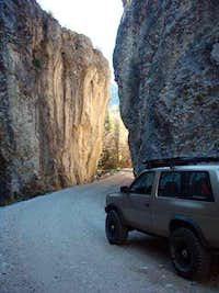 The narrow gravel road near...