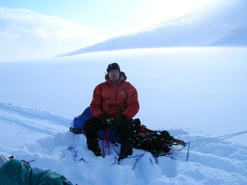 On Philippbreen glacier, Spitsbergen, Svalbard. Un-aware of the approaching blizzard..