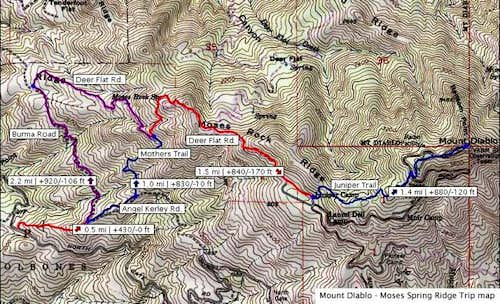 Hiking map to Mount Diablo...
