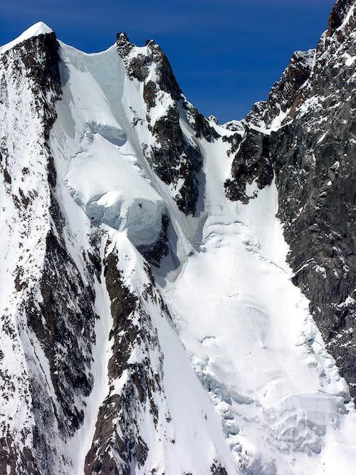 Aiguille Blanche de Peuterey <i>4112m</i> and colle di Peuterey <i>3934m</i> from colle Freshfield <i>3625m