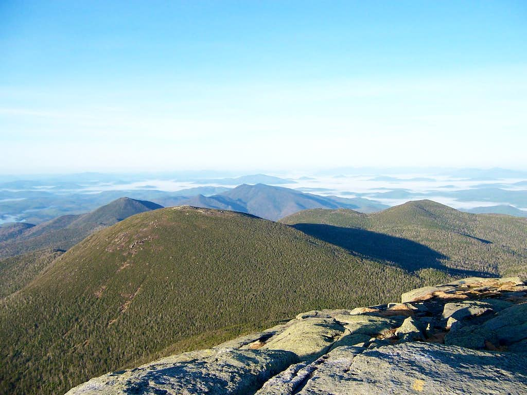 View over the western Great Range  to the central Adirondacks