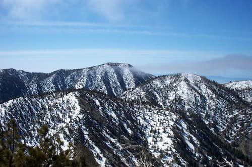 A snow capped Cucamonga Peak...