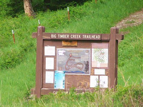 Big Timber Creek Trailhead Sign