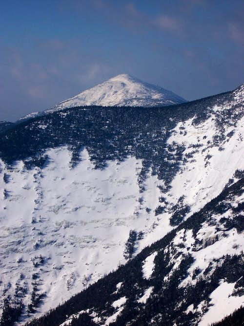 Summit cone of Marcy behind east face of Basin