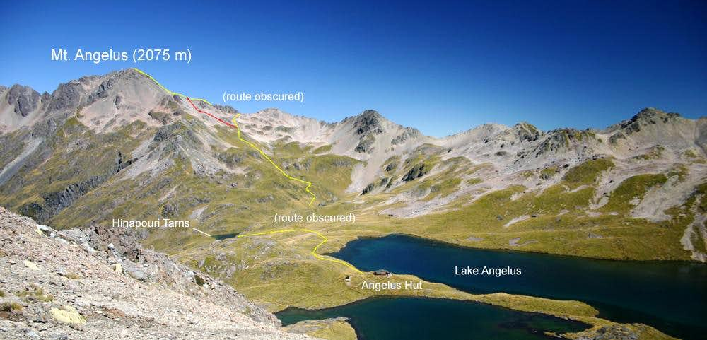 Route from Angelus hut to Summit