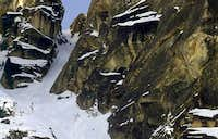 Upper SW couloir on S early...