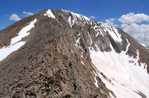 The final shattered slope on Mount Guyot
