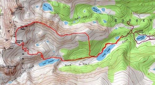 Map of the East Ridge of Pawnee Peak route