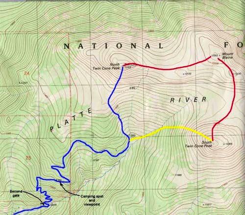 Blue = Main trail  Red =...