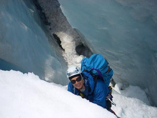 Prussiking in a Crevasse