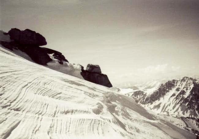 Sastrugi on summit plateau of...