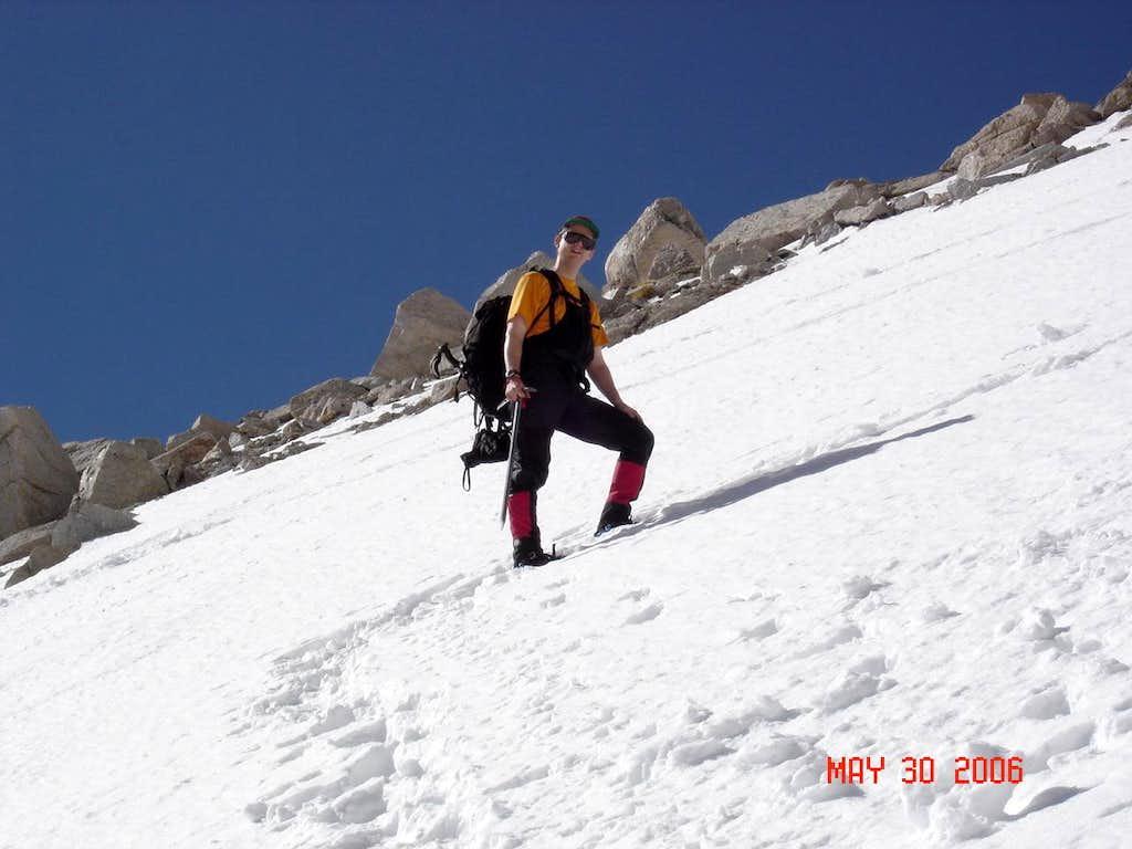 Heading up the chute