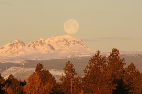 Sunrise and Moonset on South Sister