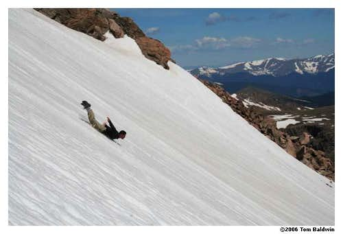 Face-first glissade down Bierstadt