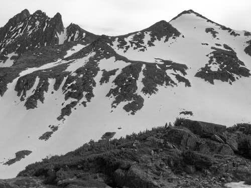 B&W Shot of  pt. 10,437 and Conical Peak